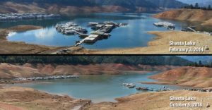 Lake Shasta's Dwindling Water Levels, courtesy USGS