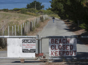 There is no public access to Martin's Beach in Unincorporated San Mateo County, Calif., photographed on Thursday, July 19, 2012. Vinod Khosla, a co-founder of Sun Microsystems and a green venture capitalist, bought the beach land in two lots in 2008 and has closed the public access to the beach. The San Mateo County chapter of Surfrider Foundation is holding a protest Saturday regarding the decision by the owner of Martin's Beach to deny access to the public. (John Green/Staff)